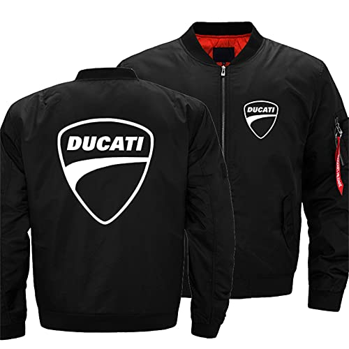 Men's Bomber Jacket for DUCATI Flight Windproof Lightweight Outwear Autumn And Winter Warm Padded Coat Full Zip Pockets -Adult Gift