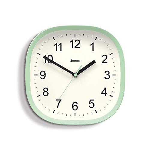 Jones Clocks ® Sprite Wanduhr – 22 cm – perfekt als Küchenuhr, Wohnzimmer-Wanduhr oder für jeden kleinen Raum (Neo Mint)