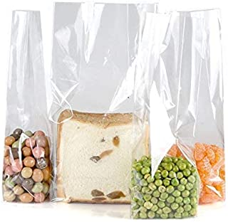 Clear Plastic Cellophane Gift Wrap Cello Bags with Ties,Size L 5.5,W 3,H 10.6 Inch,10 Count,Square Bottom