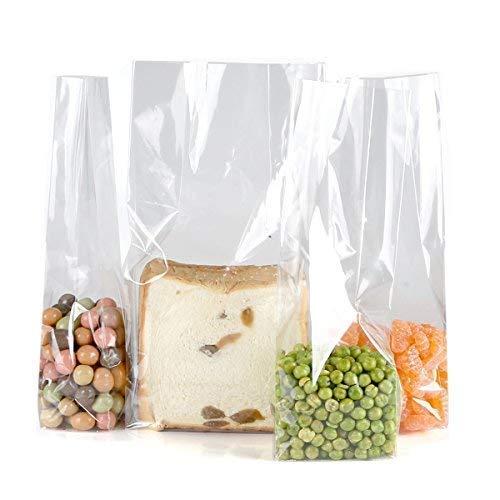 Trasparente Cellophane Sacchetti per alimenti Regalo Pacchetto Borse,Size L 7.5, W 5, H 25 cm,10 conteggio, Base Quadrata