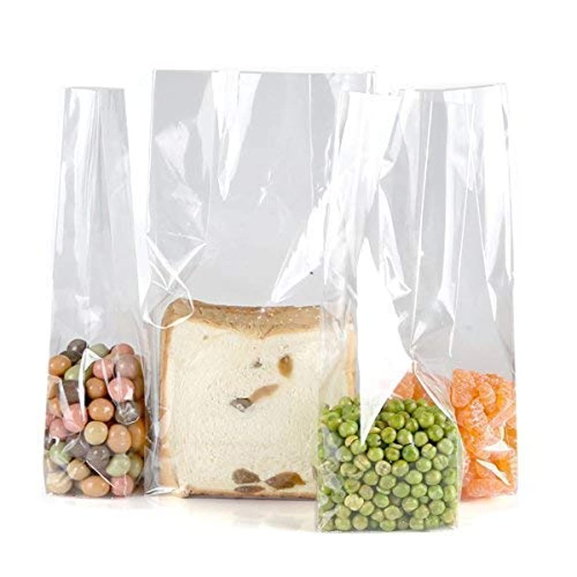 Clear Plastic Cellophane Gift Wrap Cello Bags with Ties,Size L 3,W 2,H 9.8 Inch,10 Count,Square Bottom
