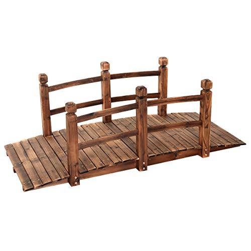 GOPLUS Holzbrücke aus Tannenholz, Gartenbrücke bis 100 kg, Teichbrücke Braun, Zierbrücke mit Geländer, 150x67x55cm (Braun)