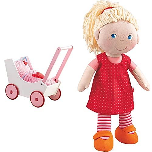 Haba 950 - Puppenwagen Herzen, niedlicher Puppenwagen mit zweifach verstellbarem Bügel, Matratze, Kissen & Decke, ab 12 Monaten und 302108 - Puppe Annelie, mit Kleidung & Haaren, 30cm, ab 18 Monaten