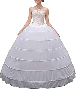 Women Crinoline Petticoat A-line 6 Hoop Skirt Slips Long Underskirt for Wedding Bridal Dress Ball Gown White
