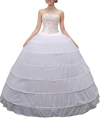 Missveil Women Crinoline Petticoat Hoop Skirt Slips Long, White, Size One Size