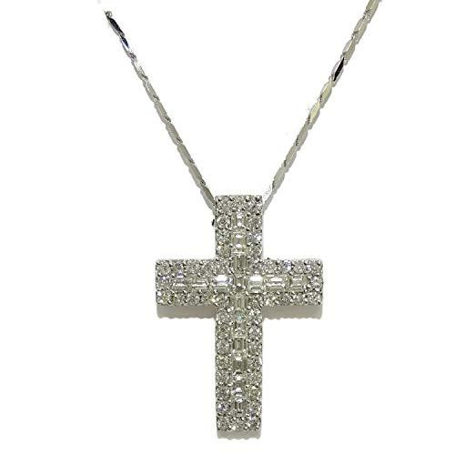 Never Say Never - Croce da uomo con diamanti da 1,60 ct, montata in oro bianco 18 ct, con catena a maglie quadrate massiccia, da 50 cm, in oro bianco da 18 carati, peso totale: 7,15 g in oro 18 kt