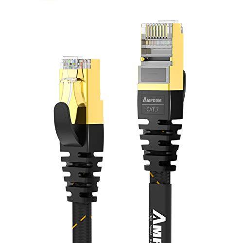 CAT7準拠STP 高速LANケーブル 1m AMPCOM 10Gbps600MHz RJ45 フラットインターネットケーブル 金メッキコネクタ 組紐 高靭性ポリエステル採用 PVC被覆 爪折れ防止 黒 1M