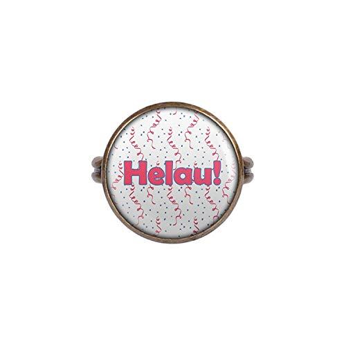 Mylery Anello con Motivo Helau Carnevale Rosa Blu Bianco Confetti Bronzo 16mm