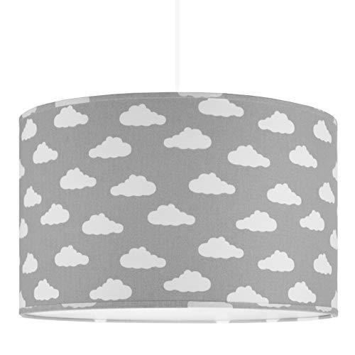 youngDECO Lampe pour bébé et chambre d'enfant, nuage sur gris, 2xE27, Ø38cm grand abat-jour, décoration scandinave chambre d'enfant pour fille & garçon