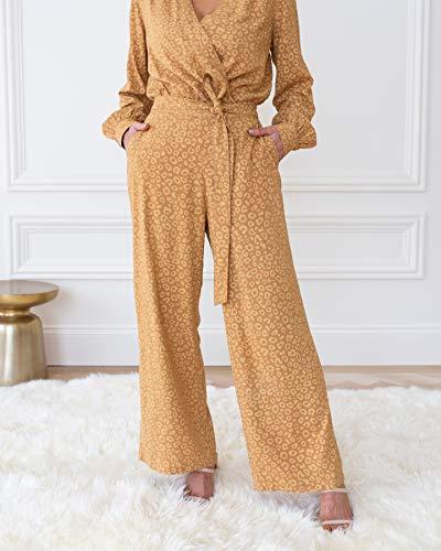 The Drop Pantalones para Mujer, Anudados en la Parte Delantera, Estampado Animal Tostado/Galleta, por @cellajaneblog