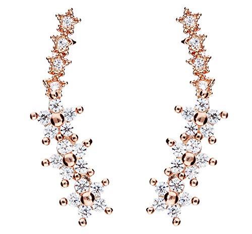 Mya Art MYASIOHR-28 Oorstekers voor dames, 925 zilver, roségoud, verguld met zirkonia, strass, steentjes, bloemen, sterren, roségoud