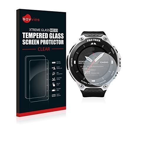 Savvies Panzerglas kompatibel mit Casio Pro Trek Smart WSD-F20 - Echt-Glas, 9H Festigkeit, Anti-Fingerprint