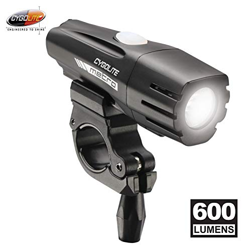 Cygolite Metro – 600 Lumen Bike Light– 4 Night Modes & Daytime Flash Mode– Compact & Durable– IP67 Waterproof– Secured Hard Mount– USB Rechargeable Headlight– for Road, Mountain, Commuter Bicycles