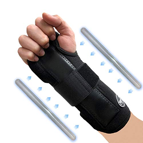Carpal Tunnel Wrist Brace Night Support Left Right Hand For Men Women, Adjustable Strap for Arthritis Athletic Sprain, Elastic Exercise Bowling Drawing Mouse Keyboard Gym (Worn on Right Hand)