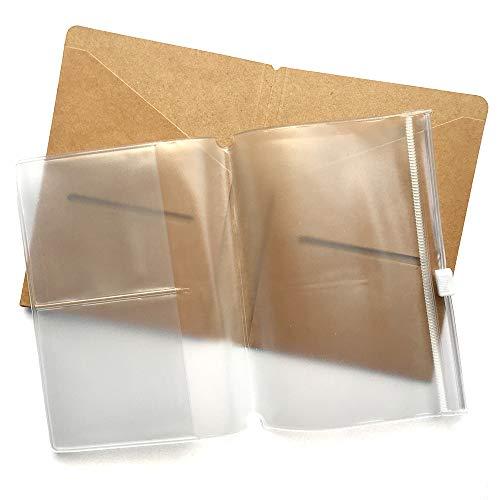 Carpeta Kraft + cremallera bolsa recarga Pack para viajeros estándar portátil 5 x 3.65 - titular de la tarjeta marrón + PVC claro bolsillo Inserte para los diarios de cuero
