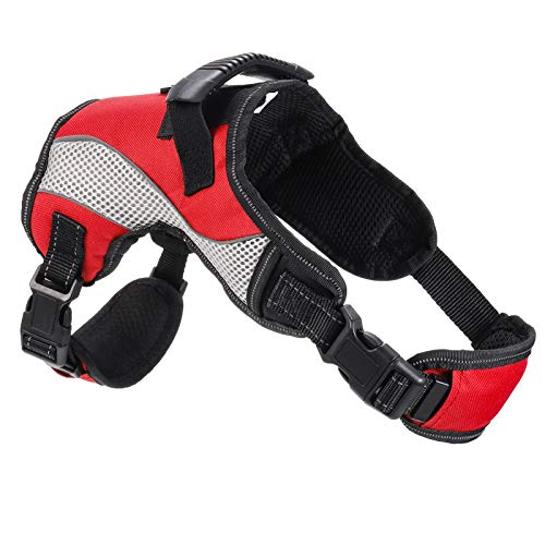 Xinstroe Stop Pulling Dog Harness, No-Pull Adjustable Pet Vest Harness, Breathable Soft Padded Vest with Handle on Top for Medium/Large Dogs, Best for Training Walking(M, Red)
