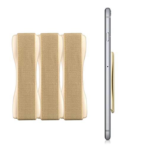 kwmobile Smartphone Fingerhalter 3er Set - Handy Halter Griff Halterung Einhandbedienung - 3X Handyhalter in Gold