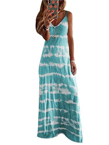 Vestidos Largo de Mujer Casual, Morbuy Tie-Dye Verano Playa Elegante Fiesta sin MangasMidi Vestido Flojo Cuello En V Talla Grandes Vestidos