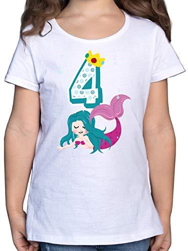 Geburtstag Kind - Meerjungfrau 4. Geburtstag - 128 (7/8 Jahre) - Weiß - Statement - F131K - Mädchen Kinder T-Shirt