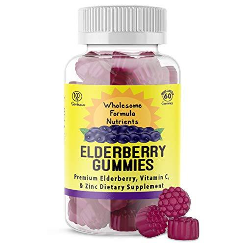 100% Natural Elderberry Gummies with Vitamin C and Zinc | Low Sugar, Vegan, Gluten Free | 60 Count Gummies | 100 mg Elderberry 90mg Vitamin C 7.5 mg Zinc | Supports Immune System Health
