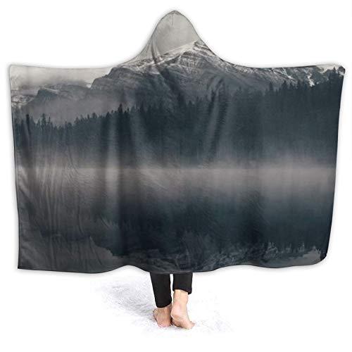 SUHETI Tragbare Hoodie Decke,Nationalparks Kanadische Rocky Mountain Range auf See...