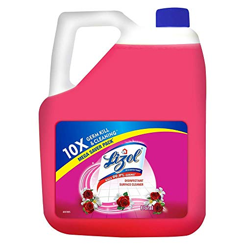 Lizol Disinfectant Surface & Floor Cleaner Liquid, Floral – 5 L   Kills 99.9% Germs