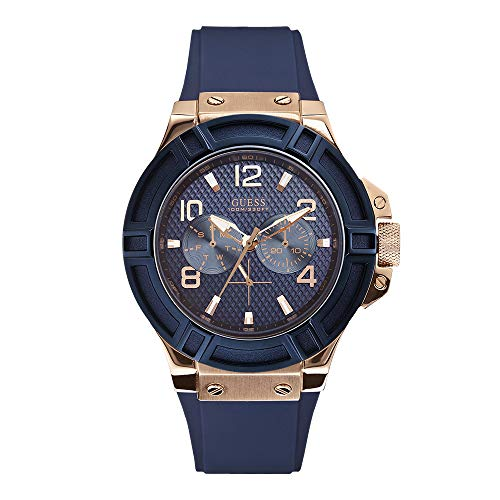 Guess Mens rigor blauw en roze-goud horloge W0247G3