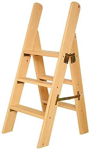 Iizi Draagbare ladder met 3 inklapbare trappen, kruk van hout, huishoudtrappen voor kinderen en volwassenen, ideaal gardening gereedschap, robuust, max. 150 kg in de natuur