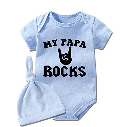 YSCULBUTOL Baby Twins Body My PAPA Rock - Conjunto de ropa de manga corta para bebé recién nacido - - 3-6 meses