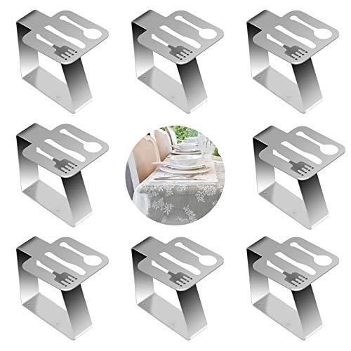 BIGKASI 8 STK Flexibel Tischtuchklammern Edelstahl Tischtuchklammern Besteck Stil Tischdeckenklammer Silber Dekorative Tischtuch klammern für Restaurant Gartentisch Hochzeit Party (5 x 4 cm)