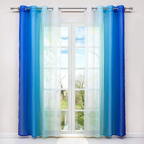 HongYa 2er-Pack Farbverlauf Gardinen Transparenter Voile Vorhänge Schals mit Ösen H/B 245/140 cm Blau