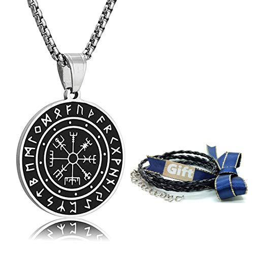 Htulip Viking Necklace 316L Stainless Steel Norse Runes Vegvisir Pendant Celtic Pagan Compass Amulet Necklace Jewellery for Men