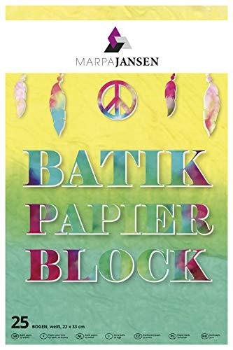MarpaJansen Batikpapier-Block - weiß - Farbverläufe leicht gemacht - (22 x 32 cm, 25 Bogen, 19 g/m)