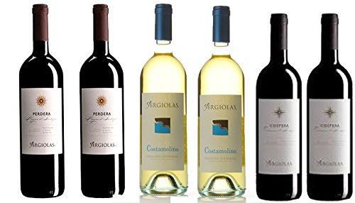 6 bottiglie di Vino della Cantina Argiolas cl.75 (2 Vermentino Costamolino DOC - 2 Monica Perdera DOC - 2 Cannonau Costera DOC)