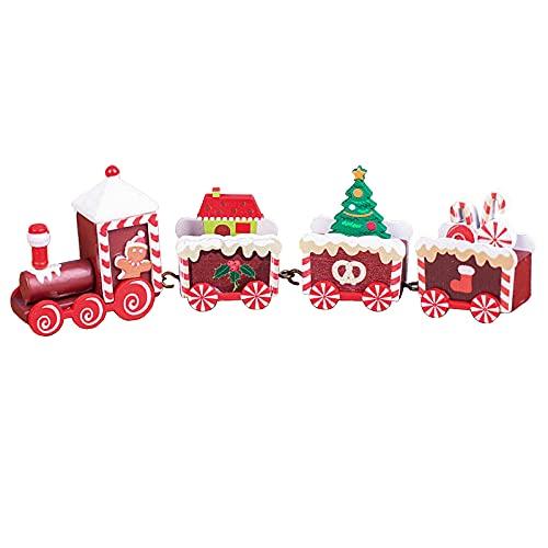 FNSAOM Tren clásico de Navidad, tren de mesa de 8.3 pulgadas, tren de madera Thomas & Friends con 4 coches de tren para niña y niño, 5 colores
