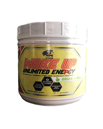 Wake UP Unlimited Energy Stevia 0 Calorie Pre Workout Powder Supplement Drink - #1 Energy Powder,Non GMO, All Natural Gluten Free Fasting/Keto Friendly (Green Apple) 30 Servings