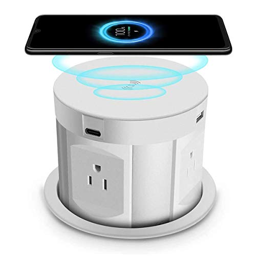 Automatic Pop Up Sockets,Retractable Recessed Power Strip,Pop Up Power Strip with Wireless Charger,4 AC Plug,2 Type-A USB and 2 Type-C USB for Office Table and Workshop (White)