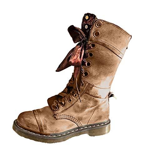 UFACE Damen Retro Schuhe Leder Mittelstiefel rutschfeste Round Toe Lace-Up Stiefel