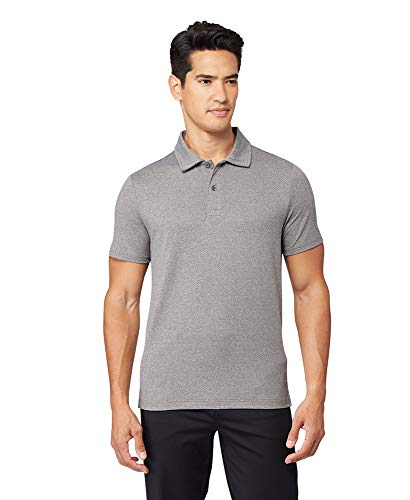 32 DEGREES Cool Mens Classic Slim Fit Quick-Dry Active Golf Polo, Grey Heather, Medium