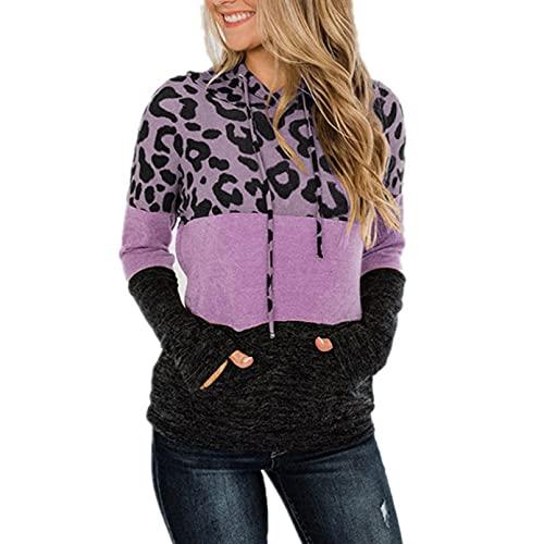 PKYGXZ Camisetas de Costura de Leopardo con Capucha para Mujer pulóver de Manga Larga Suelta Estampada Sudadera Camisetas de túnica Holgada de algodón Blusa