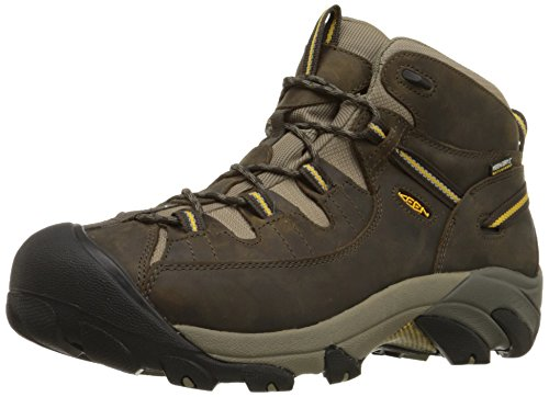 KEEN Men's Targhee II Mid Waterproof Hiking Boot, Black Olive/Yellow, 7