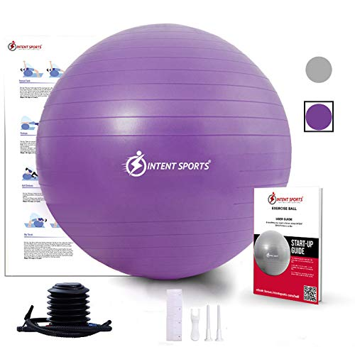 INTENT SPORTS Exercise Ball Chair – Stability Yoga Ball with Inflation Pump, Fitness Ball for Home Gym, Office, Birthday Ball Improves Back Pain, Core, Posture & Balance (65 cm) (Purple)