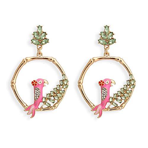 Roze Vogel Oorbellen Vrouwelijke Nationale Wind Vogelkooi Legering Diamanten Oorbellen