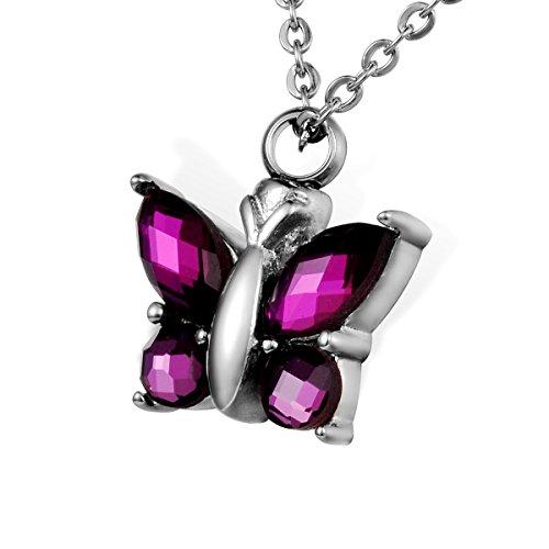 Colgante de mariposa de acero inoxidable con circonitas, abierto, impermeable, joyería de...
