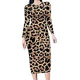 Vestido A Media Pierna con Estampado Animal De Leopardo De Manga Larga Y Talla Grande para Mujer