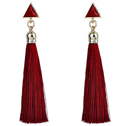 Holacha Pendientes Borla Flecos Bohemio, Pendientes Largos de Cuerda aretes colgantes étnica Boho para Mujeres (Rojo)