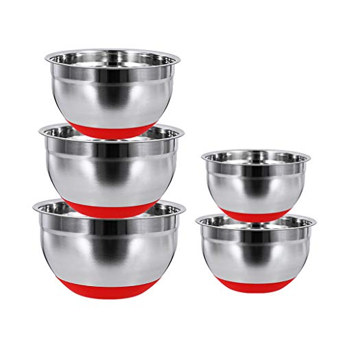 HAOXIANG Mixing Bowls 5-Pieces, Stainless Steel Stackable Salad Container with Silicone Bases & Lids for Kitchen Baking Cooking Food Storage – Dishwasher Safe,Without lid