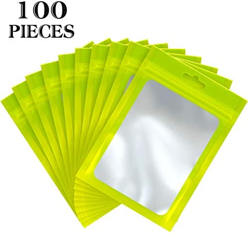 100 Pieces Resealable Mylar Ziplock Food Storage Bags with Clear Window Coffee Beans Packaging product image