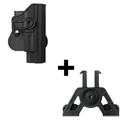 IMI Defense Tactical retention rotating 360 roto paddle polymer Holster + Molle adapter attachment for Springfield XD 9mm/.40/.45,XDM 9mm pistol handgun