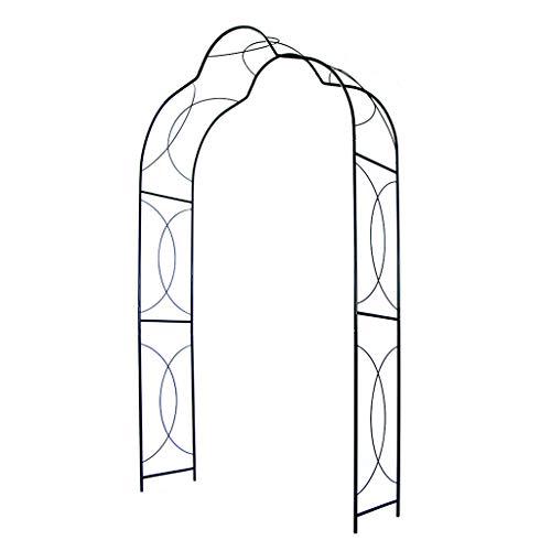 YICOL Steel Arbor Arch Garden Trellis for Climbing Plants, Abstract Modern Rose Archway Wedding Decoration, 245cm High x150cm Wide,Black